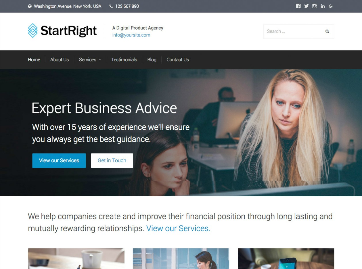 StartRight - a new standard for WordPress Business Websites.