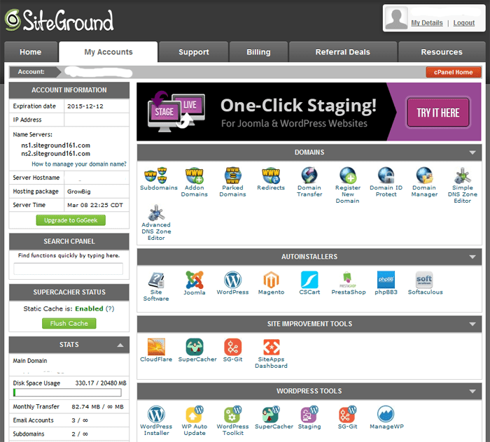 Siteground - Cpanel on steroids
