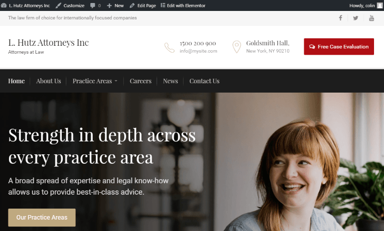 Create a law firm website with Judgement
