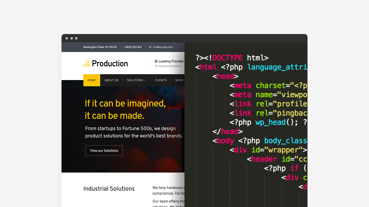 Production Free WordPress Industrial Theme - Create and Code