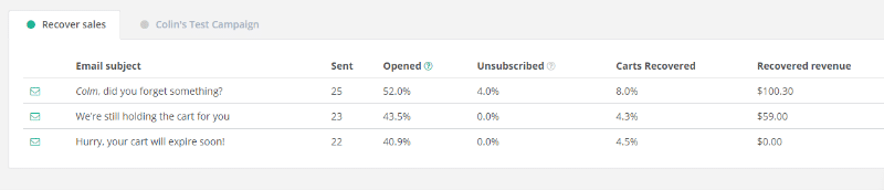 individual email stats in Jilt