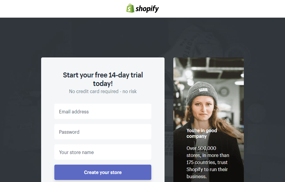 shopify signup process