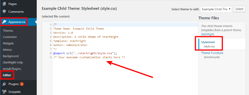 how to add code snippets to wordpress via customizer