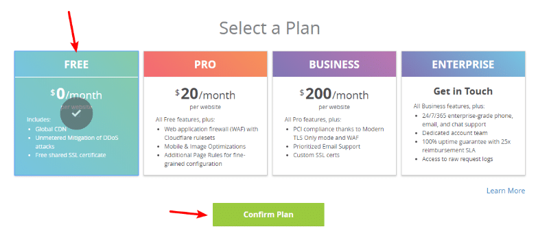 select the free plan