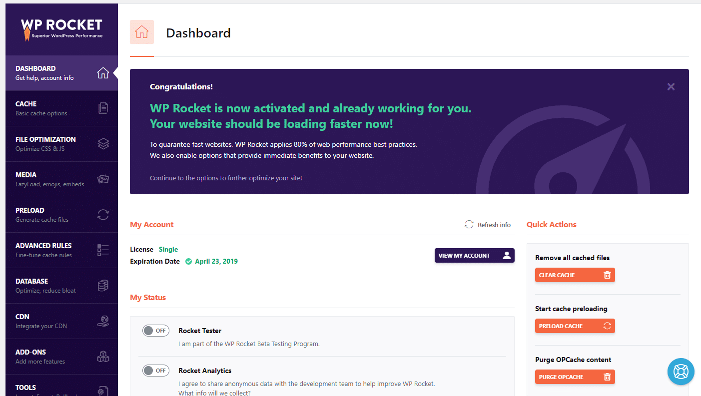wp rocket 3.0 dashboard