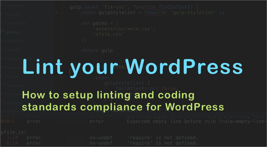 How to setup linting and coding standards compliance for WordPress