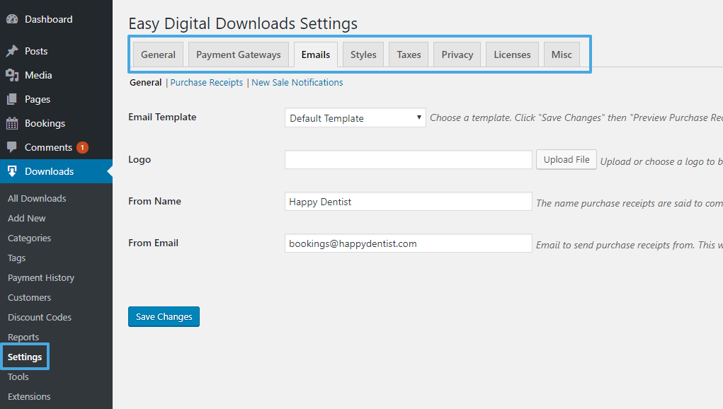 Easy Digital Downloads settings
