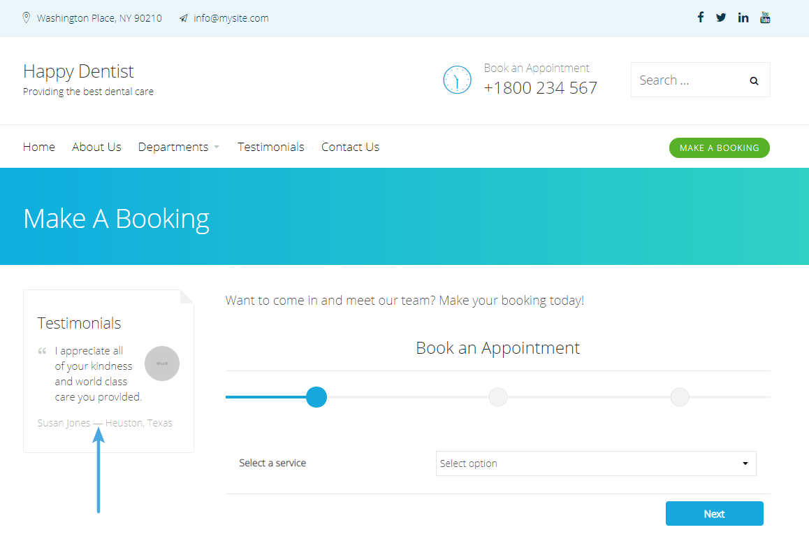 Example of booking form
