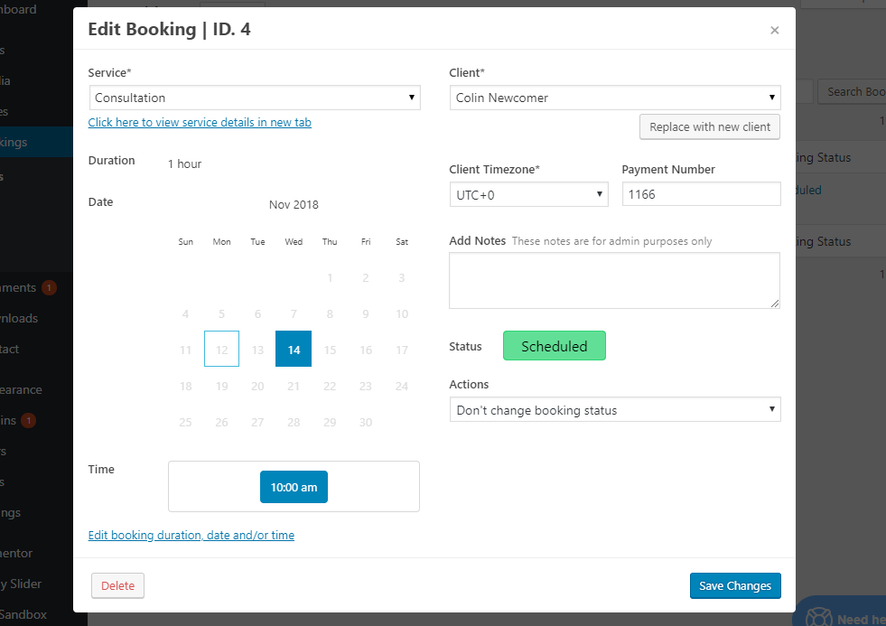 Edit booking