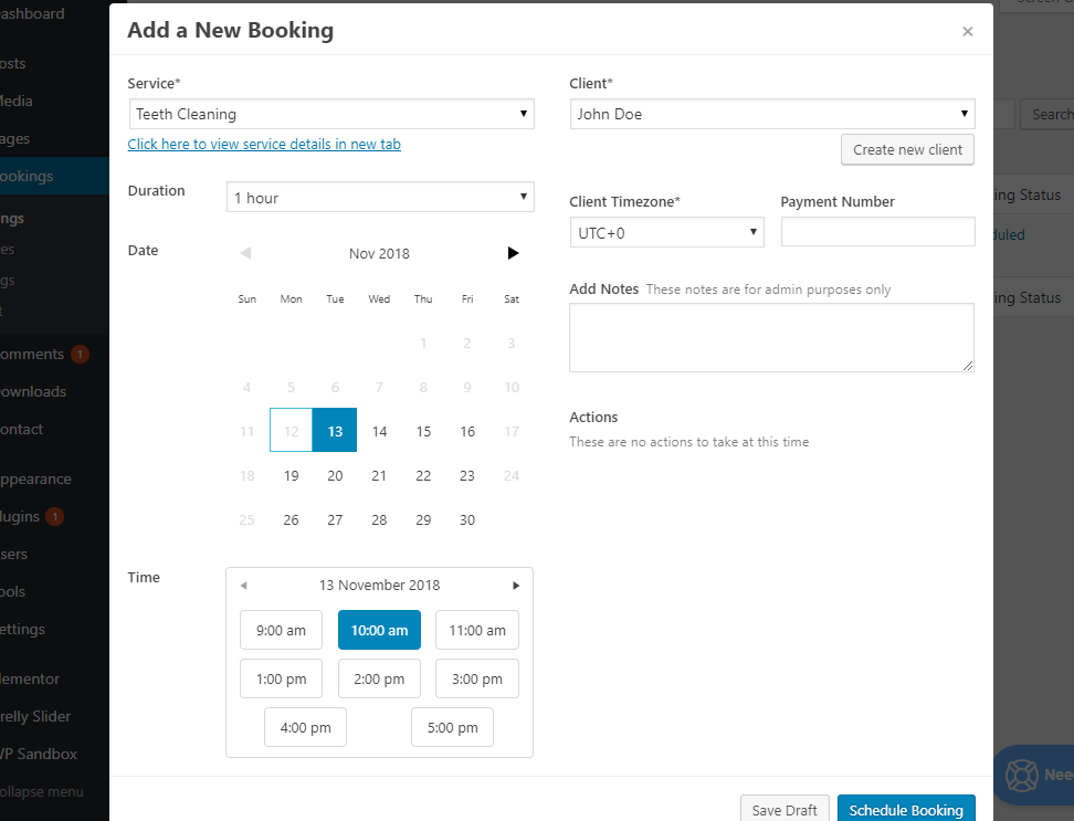 Create booking manually