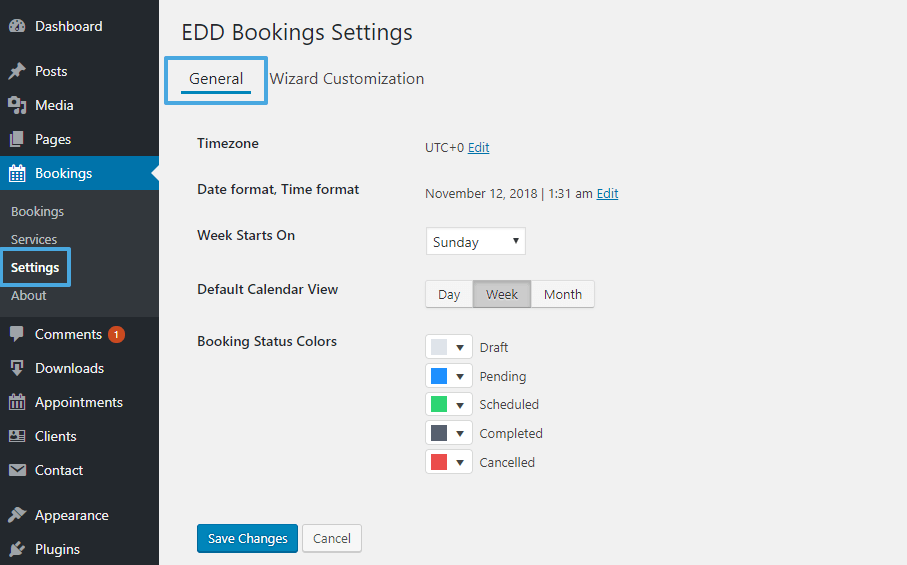Basic EDD Bookings settings