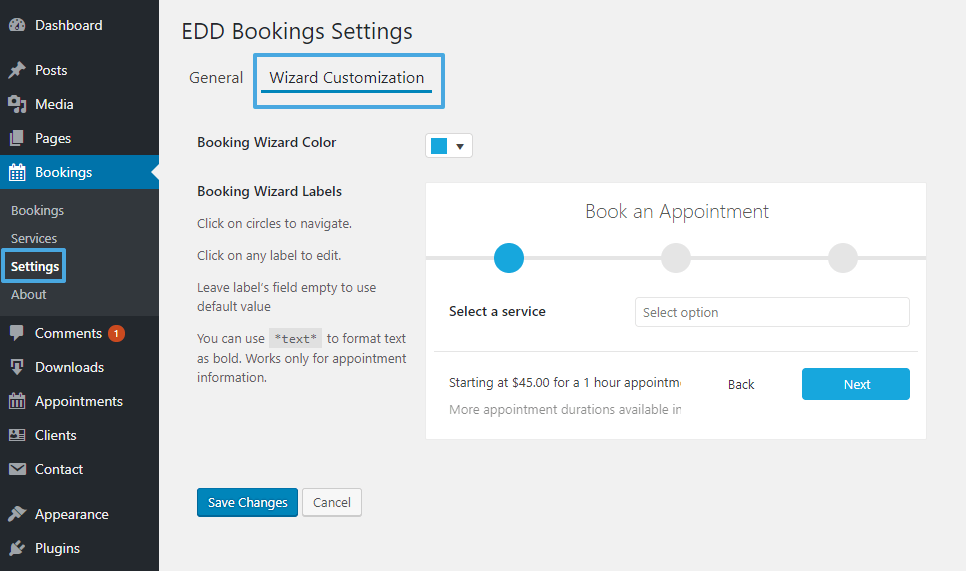 EDD Bookings Customize wizard
