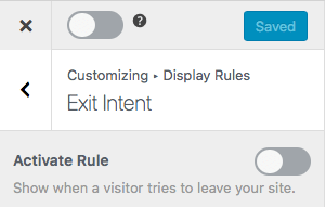 Customizing the exit intent