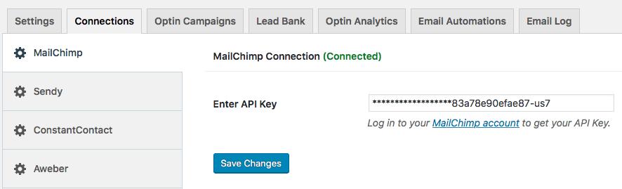 MailChimp connection options