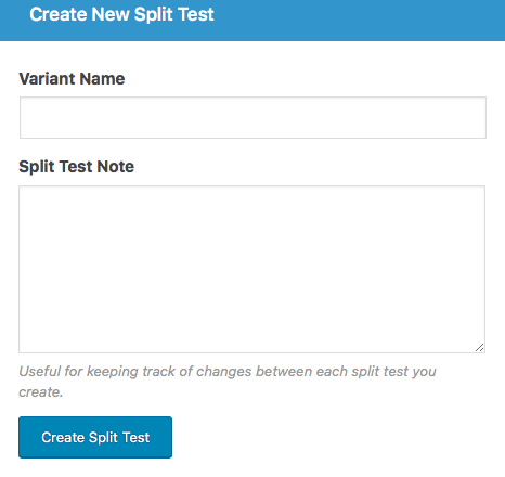 Creating a new split test