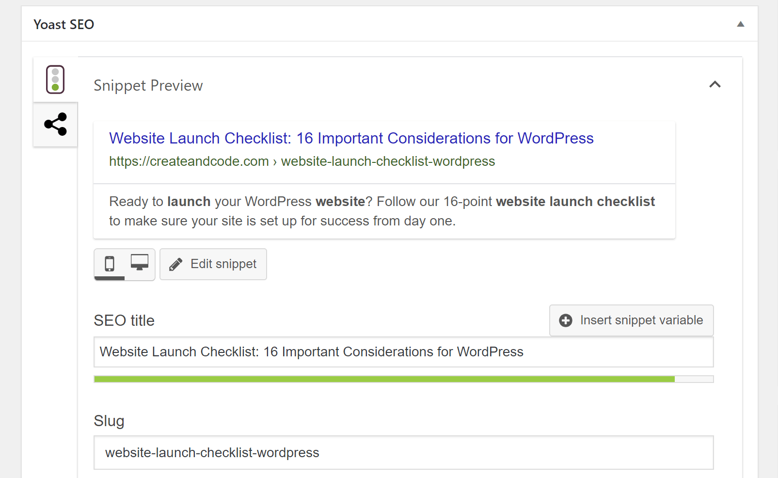 Website launch checklist SEO