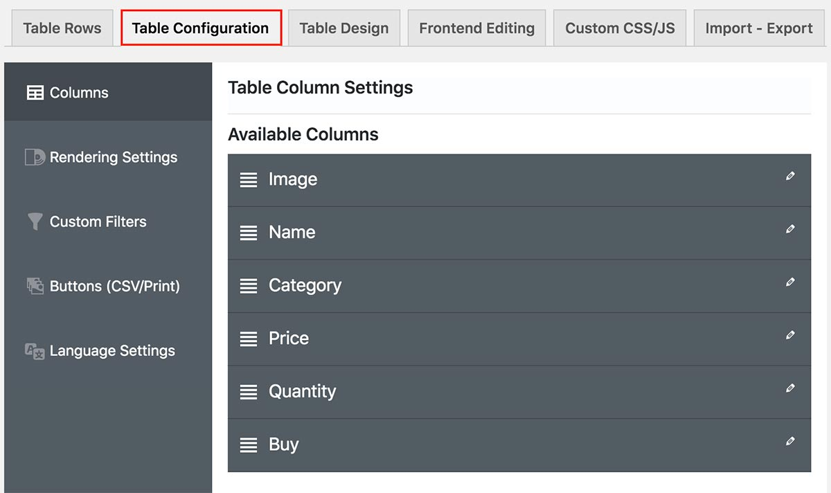 WooCommerce Product Tables plugin - Table Column Settings