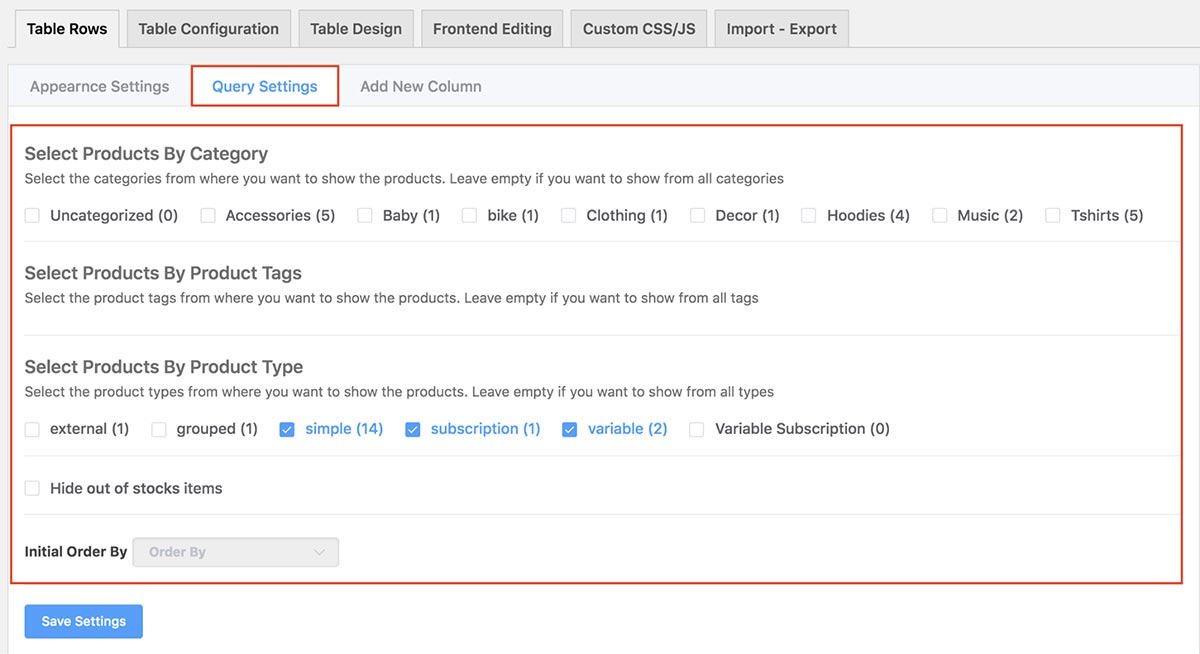 WooCommerce Product Tables plugin - Query Settings