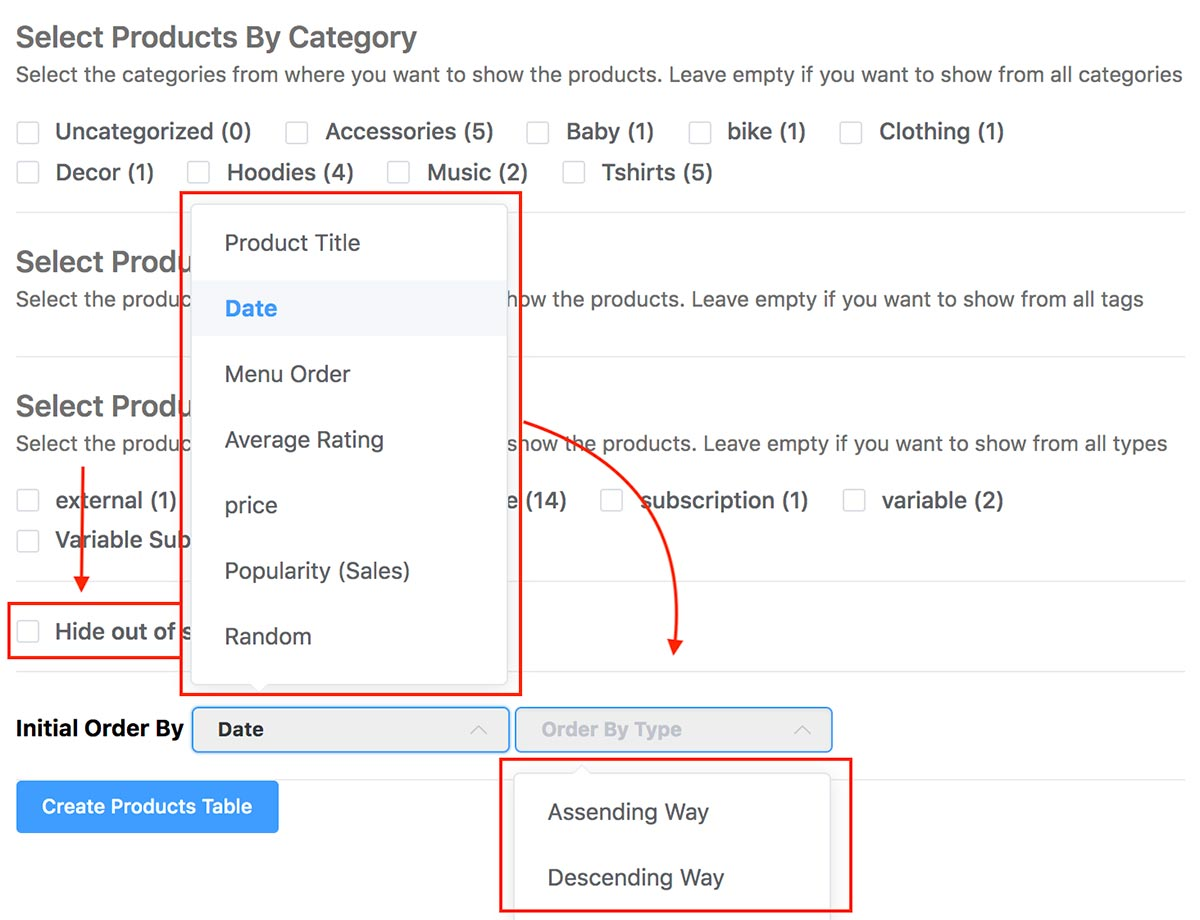 Select Products by Category